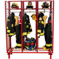 "Red Rack™ Freestanding Gear Storage Rack Locker, Single Sided, Three 24"" Sections, Red"