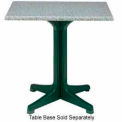 """Grosfillex® 36"""" Square Outdoor Table Top Only with Umbrella Hole - Granite Green"""