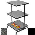 Serving Stone Display White Stand, 3 Tier, Black Stone Trays
