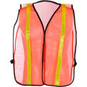 """GSS Safety 3004 Non-ANSI Economy Vest with 1""""W Stripe, Orange with Yellow Stripes, One Size Fits All"""