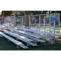 5 Row Universal Low Rise Aluminum Bleacher with Guard Rail, 27' Wide, Double Footboard