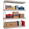 Rivetwell Dbl Rivet Boltless Shelving 96Wx18Dx84H 4 Levels Add-on No Decking 1400 Lbs Shelf Cap Tan