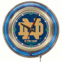 """Notre Dame (ND) Double Neon Ring 15"""" Dia. Logo Clock"""