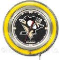 "Pittsburgh Penguins® Double Neon Ring 15"" Dia. Logo Clock"