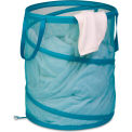 Large Breathable Pop-Up Open Spiral Laundry Hamper, Ocean Blue, Mesh