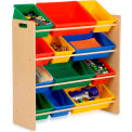 "Kids Storage Organizer With 12 Assorted Bins, Natural, 33-1/4""W x 12-1/2""D x 36""H"