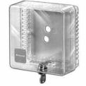 Small Universal Thermostat Guard Clear Cover Clear Base Opaque Wallplate