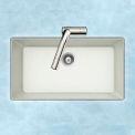 Houzer V-100U CLOUD Granite Undermount Large Single Bowl Kitchen Sink, White