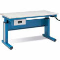 "QS 950 Hand Crank Hydraulic Adjustable Workstation 30D""x60""L Sky Blue"