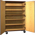 "Mobile Wood General Storage Cabinet, w/Locks, Solid Door, 48""W x 22-1/4""D x 72""H, Natural Oak/Brown"