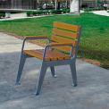 Jayhawk Plastics Recycled Plastic Plaza Patio Chair - Silver Frame with Cedar Slats