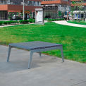 Jayhawk Plastics Recycled Plastic Plaza Outdoor Table - Silver Frame with Gray Slats