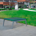 Jayhawk Plastics Recycled Plastic Plaza Outdoor Table - Silver Frame with Green Slats