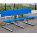 Jayhawk Recycled Plastic 6 Ft. Madison Bench, In-Ground Mount, Blue Bench/Black Frame