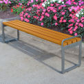 Jayhawk Plastics Recycled Plastic 6 ft. Plaza Backless Bench - Silver Frame with Cedar Slats