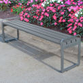 Jayhawk Plastics Recycled Plastic 6 ft. Plaza Backless Bench - Silver Frame with Gray Slats