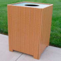 Standard Square Receptacle, Recycled Plastic, 32 Gal., Cedar