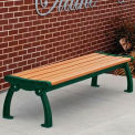 Heritage Backless Bench, Recycled Plastic, 4 ft, Green Frame, Cedar