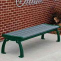 Heritage Backless Bench, Recycled Plastic, 4 ft, Green Frame, Gray