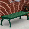 Heritage Backless Bench, Recycled Plastic, 4 ft, Green Frame, Green