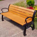 Heritage Bench, Recycled Plastic, 6 ft, Black Frame, Cedar