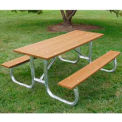 Frog Furnishings Recycled Plastic 6 ft. Galvanized Frame Picnic Table, Cedar