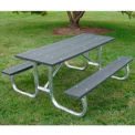Galvanized Frame Picnic Table, Recycled Plastic, 6 ft, Gray