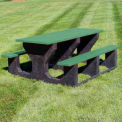 Recycled Plastic Picnic  Table, Recycled Plastic, 6 ft, Green
