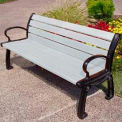 Heritage Bench, Recycled Plastic, 6 ft, Black Frame, White