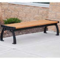 Heritage Backless Bench, Recycled Plastic, 8 ft, Black Frame, Cedar
