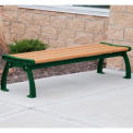 Heritage Backless Bench, Recycled Plastic, 8 ft, Green Frame, Cedar