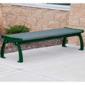 Heritage Backless Bench, Recycled Plastic, 8 ft, Green Frame, Gray