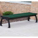Heritage Backless Bench, Recycled Plastic, 8 ft, Black Frame, Green