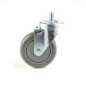 "General Duty Swivel Threaded Stem Caster 4"" TPR Wheel Brake, Delrin Bearing,  3/8 x 1-1/2 Stem, Grey"