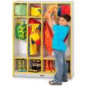 """Jonti-Craft® Kid Coat Locker, 4 Wide, 39""""W x 15""""D x 50-1/2""""H, Gray Laminate, Yellow Edge"""