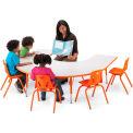 "Berries® Horseshoe Activity Table, 60""W x 66""L x 24"" To 31""H, Prism Orange"