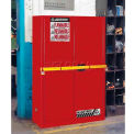 "Justrite 45 Gallon 2 Door, Manual, High Security Flammable Cabinet, 43""W x 18""D x 65""H, Red"