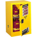 "Justrite 12 Gallon 1 Door, Self-Close, Compac, Flammable Cabinet, 23-1/4""W x 18""D x 35""H, Gray"
