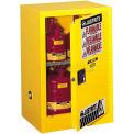 "Justrite 12 Gallon 1 Door, Self-Close, Compac, Flammable Cabinet, 23-1/4""W x 18""D x 35""H, Gray"