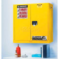 """Justrite 17 Gallon 2 Door, Manual, Wall Mount, Flammable Cabinet, 43""""W x 18""""D x 24""""H, Yellow"""