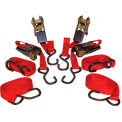 "K-Tool 73870 900 Lb. Cap. Cargo Control Ratchet Tie Down Strap 15' x 1"" PVC Coated Hooks - 4 Pack"