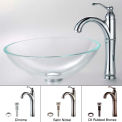 Kraus C-GV-100-12mm-1005CH Crystal Clear Glass Vessel Sink & Riviera Faucet Chrome