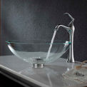 Kraus C-GV-100-12mm-15000CH Crystal Clear Glass Vessel Sink & Ventus Faucet Chrome