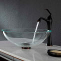 Kraus C-GV-100-12mm-15000ORB Crystal Clear Glass Vessel Sink & Ventus Faucet Oil Rubbed Bronze