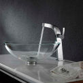 Kraus C-GV-100-12mm-15100CH Crystal Clear Glass Vessel Sink & Typhon Faucet Chrome
