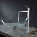 Kraus C-GV-100-12mm-15500CH Crystal Clear Glass Vessel Sink & Virtus Faucet Chrome