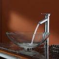 Kraus C-GV-100-12mm-1800CH Crystal Clear Glass Vessel Sink & Decus Faucet Chrome