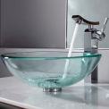 Kraus C-GV-101-12mm-14300CH Clear Glass Vessel Sink & Unicus Faucet Chrome