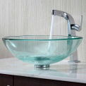 Kraus C-GV-101-12mm-15100CH Clear Glass Vessel Sink & Typhon Faucet Chrome