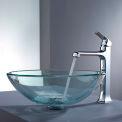 Kraus C-GV-101-12mm-15200CH Clear Glass Vessel Sink & Decorum Faucet Chrome